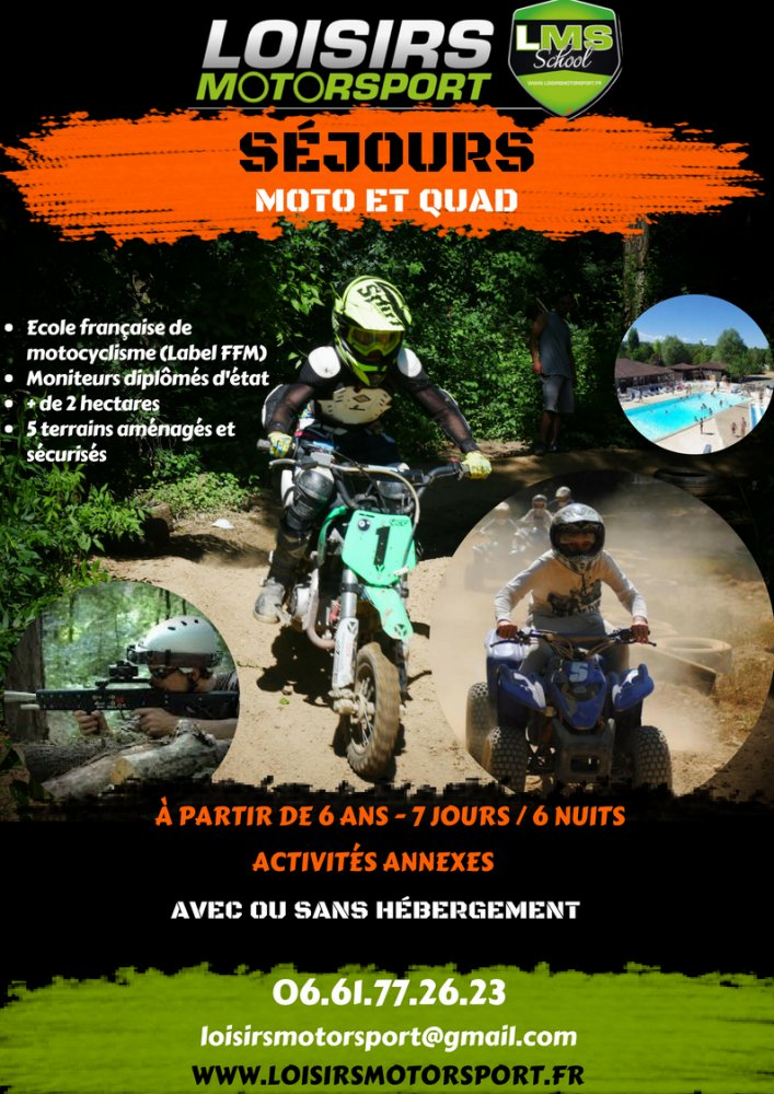 Colonie de vacances motocross et quad été 2020 proche de Lyon